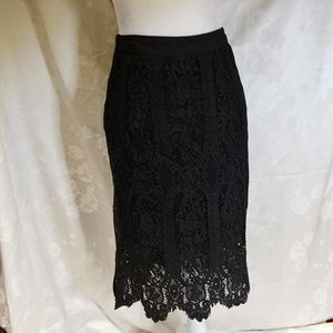 Anthro Sunday in Brooklyn Black Lace Skirt XS NWT